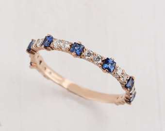 Sapphire Band Ring Fancy Gold Wedding