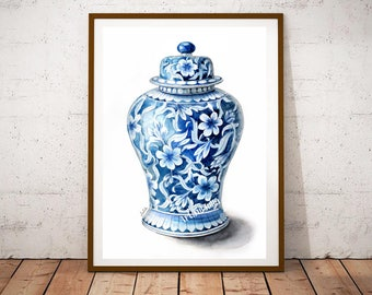 Floral  jar art, ginger Jar painting,  Chinese jar print, print of my original Jar watercolor painting