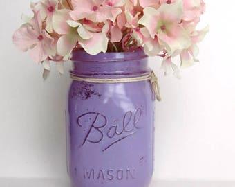 Pastel Purple Distressed Mason Jar | Great Desk Decor