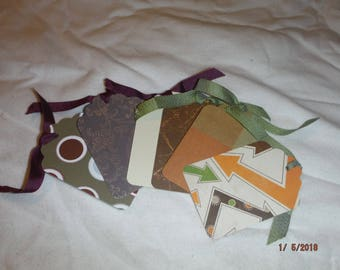 Lot of Six Masculine Thank You Tags with Ribbon-- DreamscapesByCyn