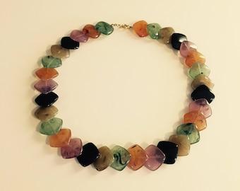 Multicolored Square Bead Multi-Length Necklace