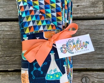 Colorful science print flannel baby blanket, stroller blanket, car seat blanket, gender neutral baby present, gift for the little scientist