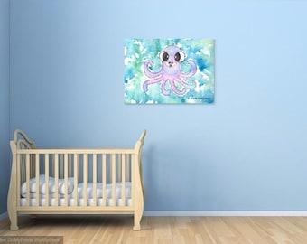 Instant download, original watercolor painting illustration, Octopus