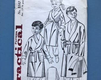 Practical No. 5587 Retro Vintage 1960's Boy's or Girls's Dressing Gown, Bath Robe, Towelling, Fleece, Childrens Sewing Pattern Age 13-16