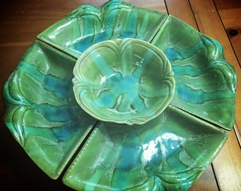 Free Shipping!-Vintage California Pottery Lazy Susan  # B273 / Serving Tray.