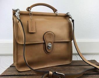 COACH Willis 9927 Tan Leather Crossbody Messenger Bag