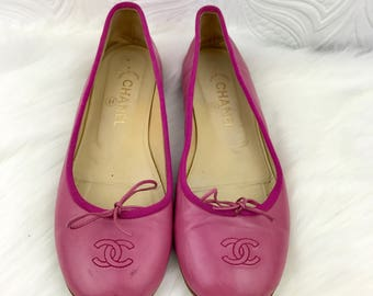 CHANEL Pink Leather Ballet Flats Size 39 EUR