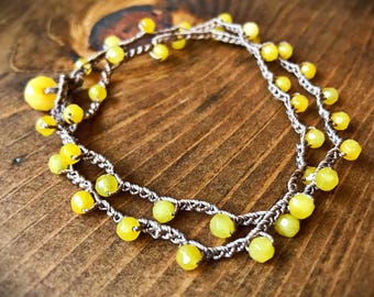 Yellow Agate (stone of harmony) mindfulness necklace