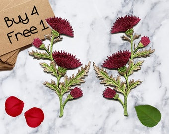 Iron On Red Flower Applique Iron On Embroidered Patches