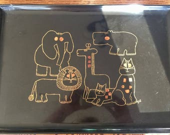 Vintage Couroc Tray Animals Elephant Giraffe Hippo Lion Cats Phenolic, Mid Century Modern, Hand Inlaid, Monterey California