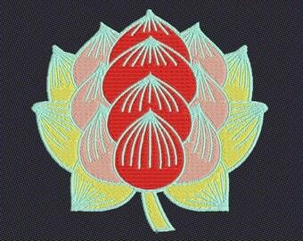 Embroidery japanese crest kamon hasu