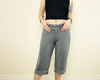 Vintage Grey Lace Up 90's Cropped Loose Hippie Trousers