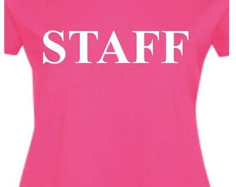 staff,womens t-shirt,can be personalised free of charge