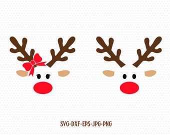 Rudolf, Christmas, Xmas, Reindeer SVG, Boy and Girl Reindeer ,Christmas SVG Cutting File Svg, CriCut Files svg jpg png dxf Silhouette cameo