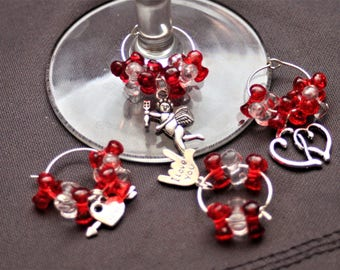 Set of 4 Love Themed Wine Glass Charms