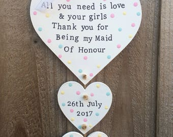 Personalised bridesmaid thank you gift present plaque heart