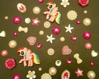 My little pony themed bundle of gems, cabochans and pearls