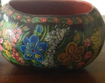 Mexico Painted Lacquerware Gourd Bowl from Chiapa de Corzo in State of Chiapas