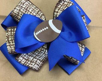 Royal Blue Football Bow