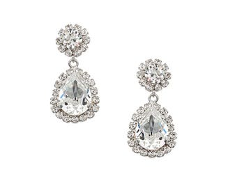Emily Drop Earrings with Clear Swarovski crystals