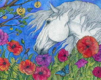 Art Print, prints horse, white horse print, poppies watercolor, poppies art, red poppies wall art, artwork, artwork prints, watercolor