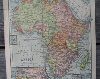 1903- Africa Vintage Map, Antique-Vintage Printing of Africa- Home and Office Decor