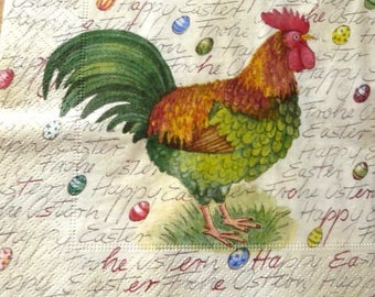 Paper towel beautiful rooster