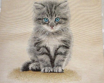 Weaving way jacquard tapestry Panel Cute Kitten with blue eyes