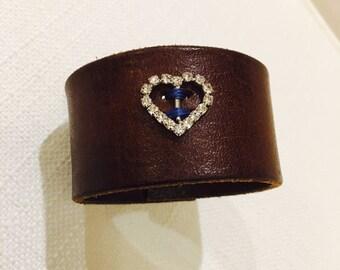 Women's Leather Cuff Bracelet With Rhinestone Heart