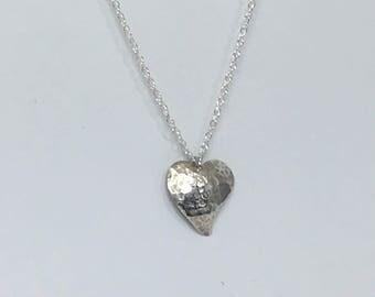 Handmade 925 sterling silver textured heart pendant