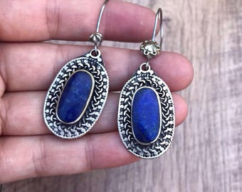 Lapis Earrings, lapis lazuli earrings, deep blue earrings, lapis lazuli jewellery, ethnic tribal earrings, tribal jewelry, gypsi earrings