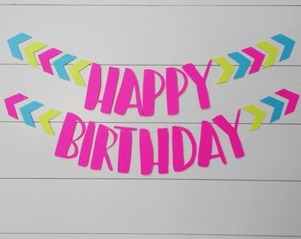 Neon Happy Birthday Banner