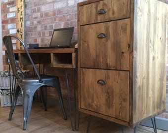 Rustic Industrial Style Vintage Retro Office Filing Cabinet / Drawers / Tallboy With Metal Hairpin Legs