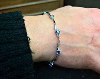 Silver plated bracelet with crystals!