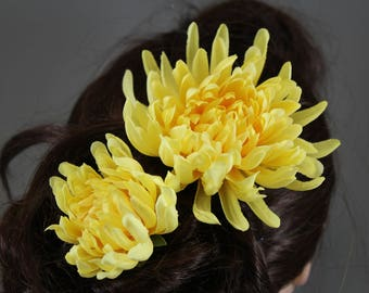 "Vintage inspired rockabilly hair flower / Hairflower set ""Chrissy yellow"""