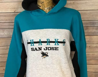 Vintage San Jose Sharks Hooded Colorblock Embroidered Sweatshirt (XL)
