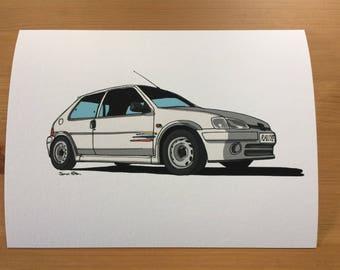 Peugeot 106 Rallye Series 2 Illustration Print