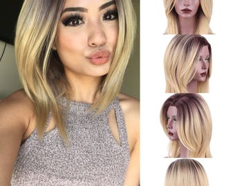 """16"""" Ombre Black/Brown And Blonde Cut Short Synthetic Wig Heat Resistant// Synthetic Hair Wigs// Mixed Color"""