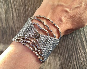 Cuff beads woven, jewelry, silver cuff style antique vintage jewelry Swarovski