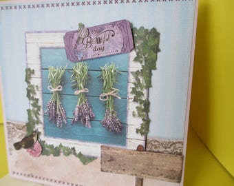 Card 3D (relief) hanging Lavender bouquets