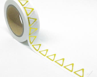 Washi Tape bright triangles upraised hand gilded 10Mx15mm white outlines