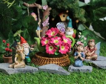 Unique Design Porcelain Miniature Flower Teapot -Hot Pink Geranium- for Fairy Garden, Dollhouse Decoration, Great for Mini Tabletop Vase