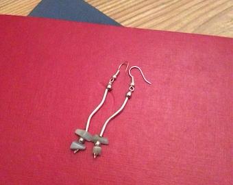 Handmade beaded earrings pale aqua