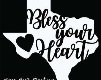 "Texas ""Bless Your Heart"" state vinyl decal"