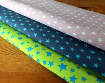 1 YARD 7 USD - Star Cotton Fabric - Blue Green Star Cotton Fabric