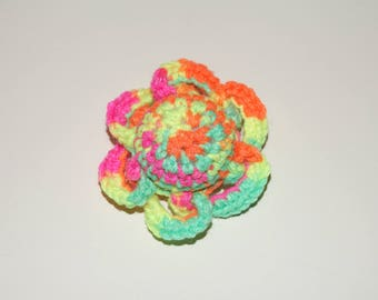 Silly Frilly Ball - Neon Rainbow Blend! Handmade crocheted catnip filled cat toy! Cole and Marmalade a-purr-oved =)