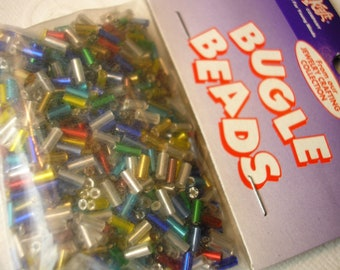Bugle Beads, Multicolor Mix, Brand New Bag, by Chenille Craft ,33 Grams/1.2 Ounces, Beading Supplies, Jewelry Making, Home Craft Supplies