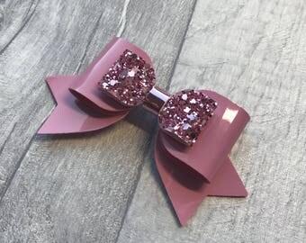 Patent hair bow, girls hair bow, pink glitter hair bow, crocodile clip, nylon headband, party hair bow, birthday hair bow, spring hair bow