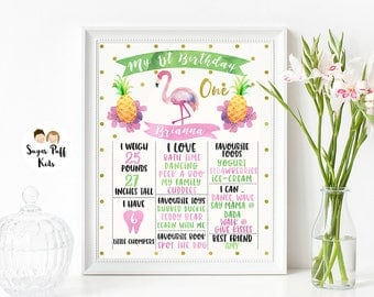 Flamingo Milestone Banner, Flamingo Milestone Print, Milestone Poster, Girls Milestone Poster, Flamingle Milestone Poster, Watercolor