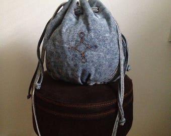 Vintage 80s distressed denim bucket bag cross body